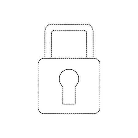 safety lock icon image vector illustration design  black dotted line Banco de Imagens - 90330664