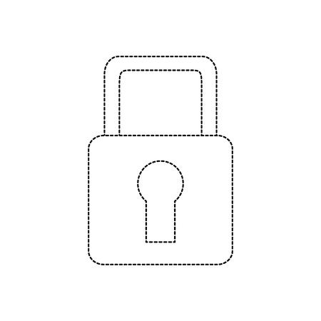 safety lock icon image vector illustration design  black dotted line Illustration