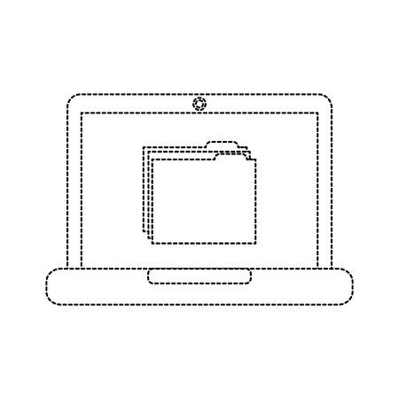 file folder on laptop screen icon image vector illustration design  black dotted line Illustration