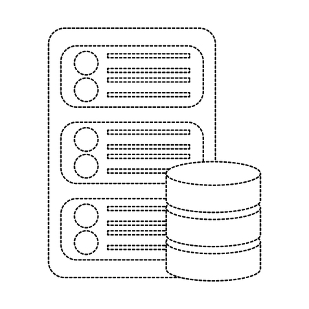 server with database web hosting icon image vector illustration design  black dotted line