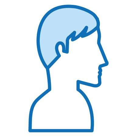 man profile shirtless avatar character vector illustration design
