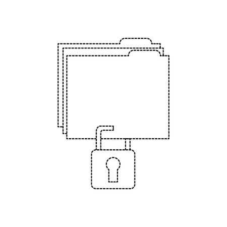 file folder with safety lock  icon image vector illustration design  black dotted line