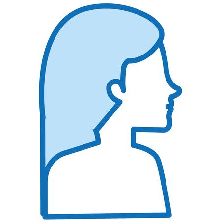 woman profile shirtless avatar character vector illustration design