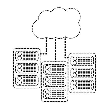 server with cloud storage web hosting icon image vector illustration design  black dotted line