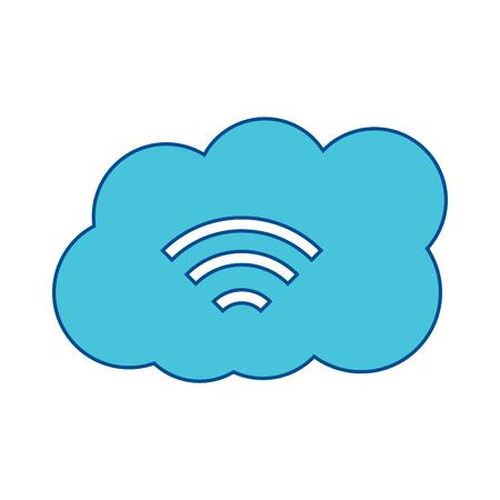 Segnale di wifi su progettazione dell'illustrazione di vettore di immagine dell'icona della nuvola grigia e blu Archivio Fotografico - 90339303