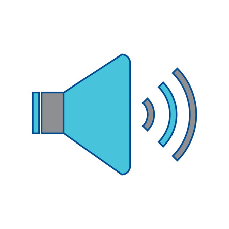 speaker sound on icon image vector illustration design  grey and blue