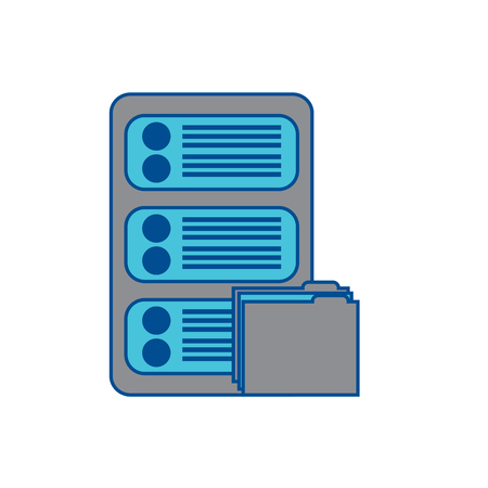 server with file folder web hosting icon image vector illustration design  grey and blue Stock Vector - 90339315