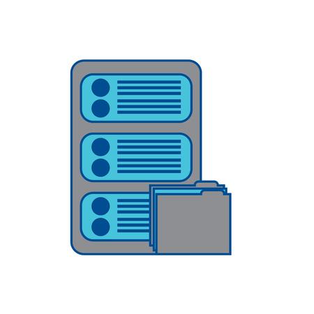 server with file folder web hosting icon image vector illustration design  grey and blue