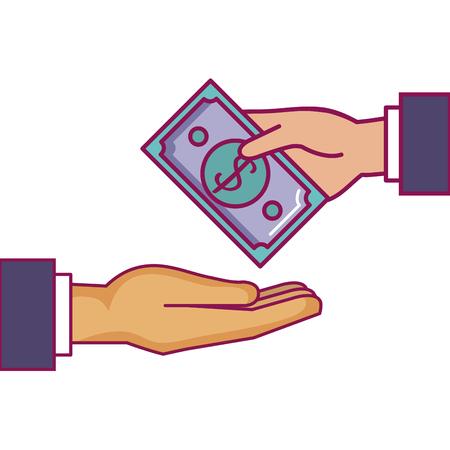 hands human with bill dollar money icon vector illustration design