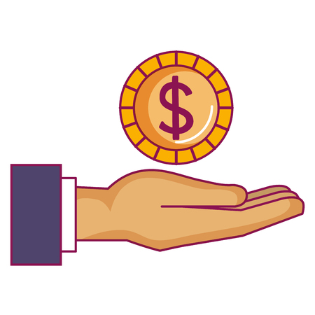 hand with coin money vector illustration design Vettoriali
