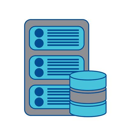 server with database web hosting icon image vector illustration design  grey and blue