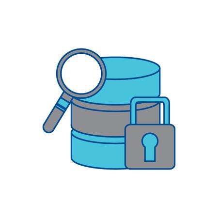data base server security magnifier search hosting system vector illustration Illustration