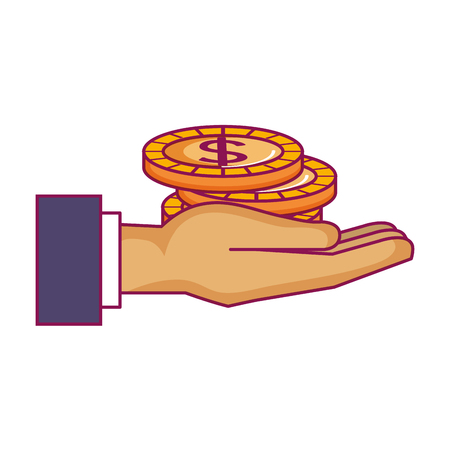 hand with coin money vector illustration design Stock Vector - 90343359