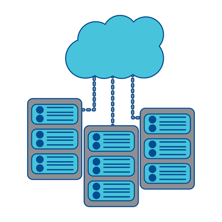 set of data base server cloud connect binary development process vector illustration Stock fotó - 90342829