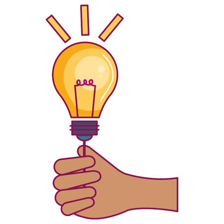 hand human with bulb light vector illustration design