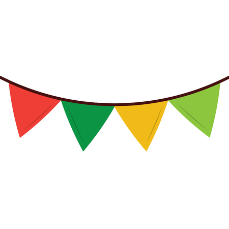 colored garland pennant decoration festive ornament vector illustration