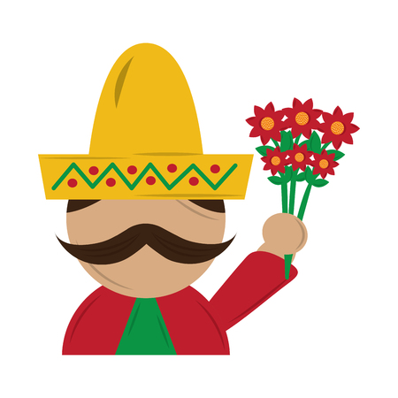 mexican man with hat and mustache holding bunch flower vector illustration