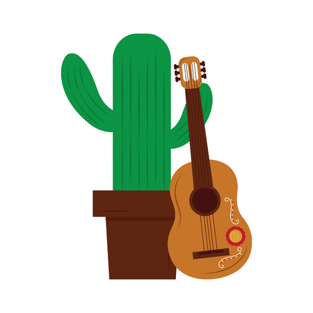 cartoon happy potted cactus with guitar celebration mexican vector illustration