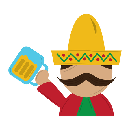 funny mexican man with hat and mustache with beer glass vector illustration Illustration