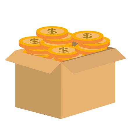 kartonnen doos met munten vectorillustratie ontwerp Stock Illustratie