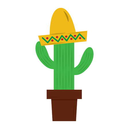 potted cactus and mexican hat decoration vector illustration