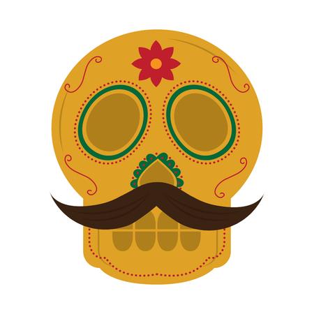 Cranio con i baffi il giorno della morte messicana tradizionale illustrazione vettoriale Archivio Fotografico - 90342946