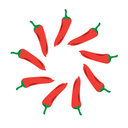hot mexican chili pepper fast food round vector illustration