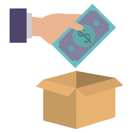 hand with savings box isolated icon vector illustration design
