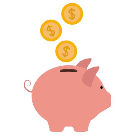 コインを貯金箱貯金ベクトル イラスト デザイン  イラスト・ベクター素材