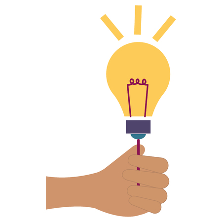 hand human with bulb light vector illustration design