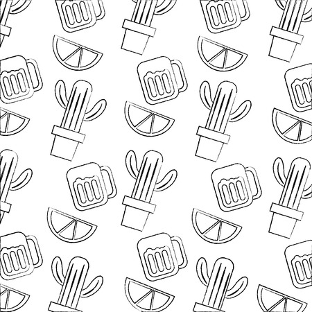 Mexicaanse pot cactus drankje en limoen naadloze patroon afbeelding vectorillustratie