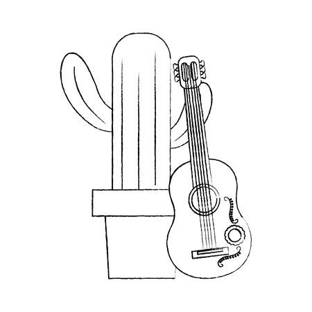 ギターのお祝いメキシコベクトルイラストと漫画ポットサボテン