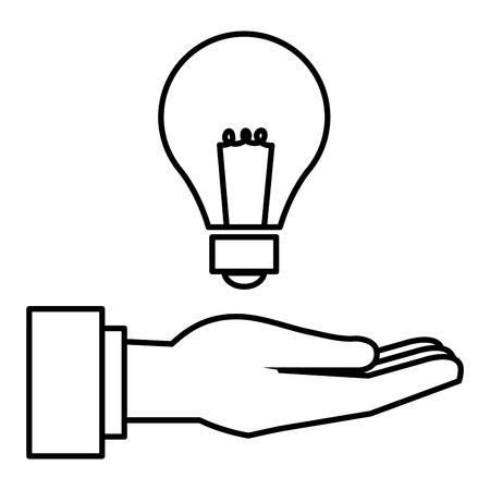 hand human with bulb light vector illustration design Stock Vector - 90343475