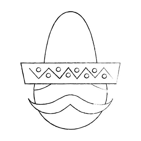 모자와 콧수염 초상화 벡터 일러스트와 함께 멕시코 사람 얼굴