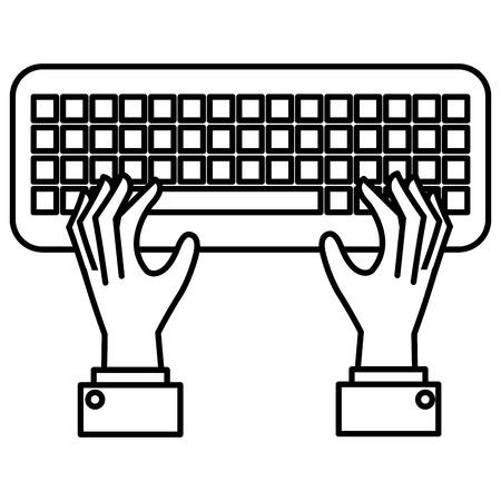 hands user with keyboard vector illustration design