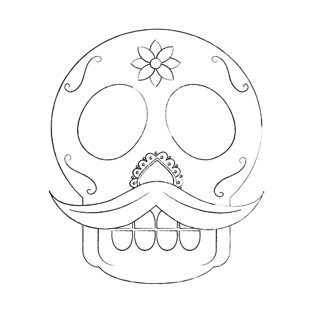 skull with mustache the day of the death mexican traditional vector illustration Stock Vector - 90343056