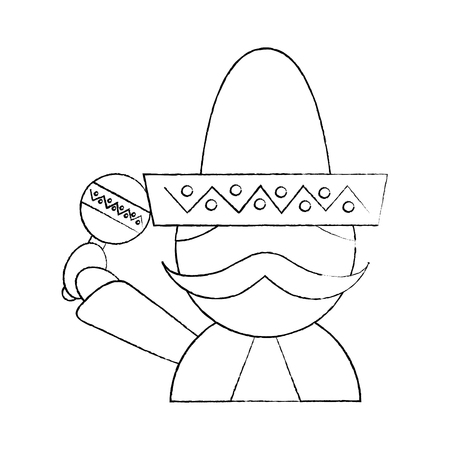 mexican man with maraca and hat traditional costume vector illustration
