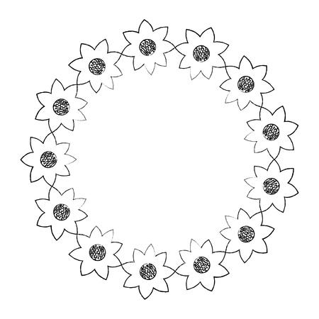 Illustrazione decorativa di vettore dell'ornamento naturale del fiore della corona Archivio Fotografico - 90343058