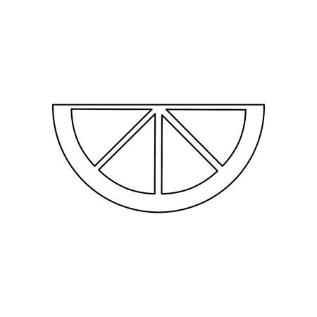 lime lemon orange  wedge icon image vector illustration design  black line Illustration