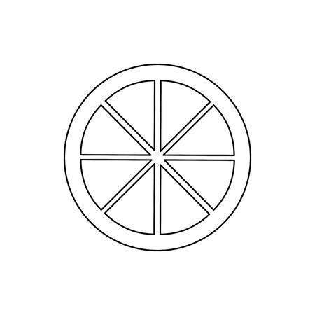 Linea del nero di progettazione dell'illustrazione di vettore di immagine dell'icona dell'icona del cuneo del limone della calce Archivio Fotografico - 90343067