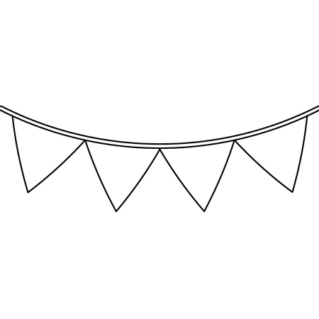 pennant banner icon image vector illustration design  black line
