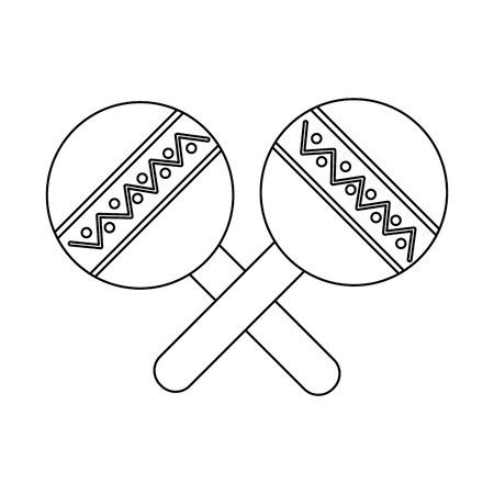 마라카스 악기 아이콘 이미지 벡터 일러스트 디자인 블랙 라인 일러스트