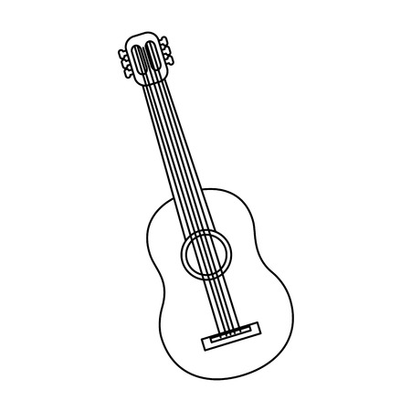 guitar acoustic icon image vector illustration design  black line
