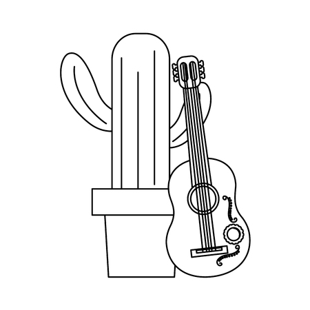 cactus with guitar mexico culture icon image vector illustration design  black line