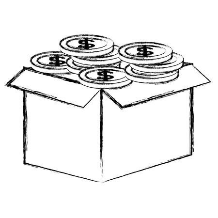 contenitore di cartone con progettazione dell'illustrazione di vettore delle monete
