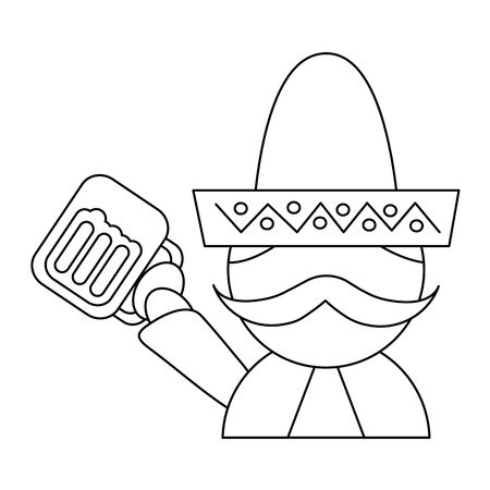man with sombrero holding beer mexico culture icon image vector illustration design  black line Illustration