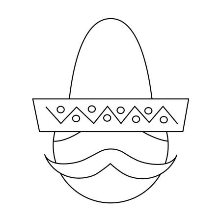 man with sombrero mexico culture icon image vector illustration design  black line