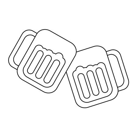 グラスでビール乾杯アイコン画像ベクトル イラスト デザイン黒線