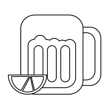 Cerveza en vidrio con lima cuña icono imagen vector ilustración diseño línea negra Foto de archivo - 90340639