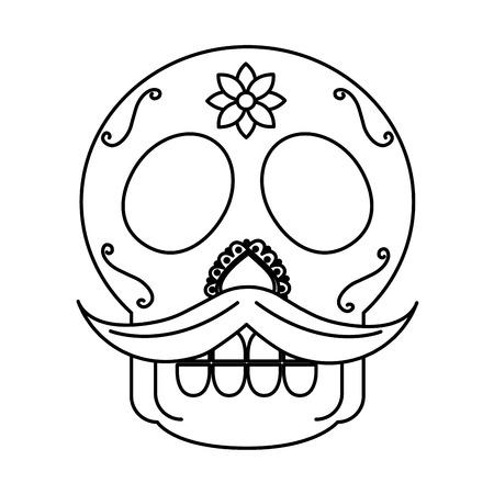 sugar skull with mustache mexico culture icon image vector illustration design  black line 일러스트
